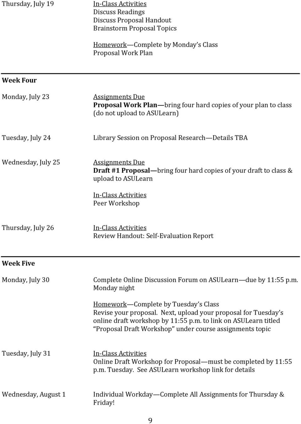 upload to ASULearn Peer Workshop Thursday, July 26 Review Handout: Self-Evaluation Report Week Five Monday, July 30 Complete Online Discussion Forum on ASULearn due by 11:55 p.m. Monday night Homework Complete by Tuesday s Class Revise your proposal.