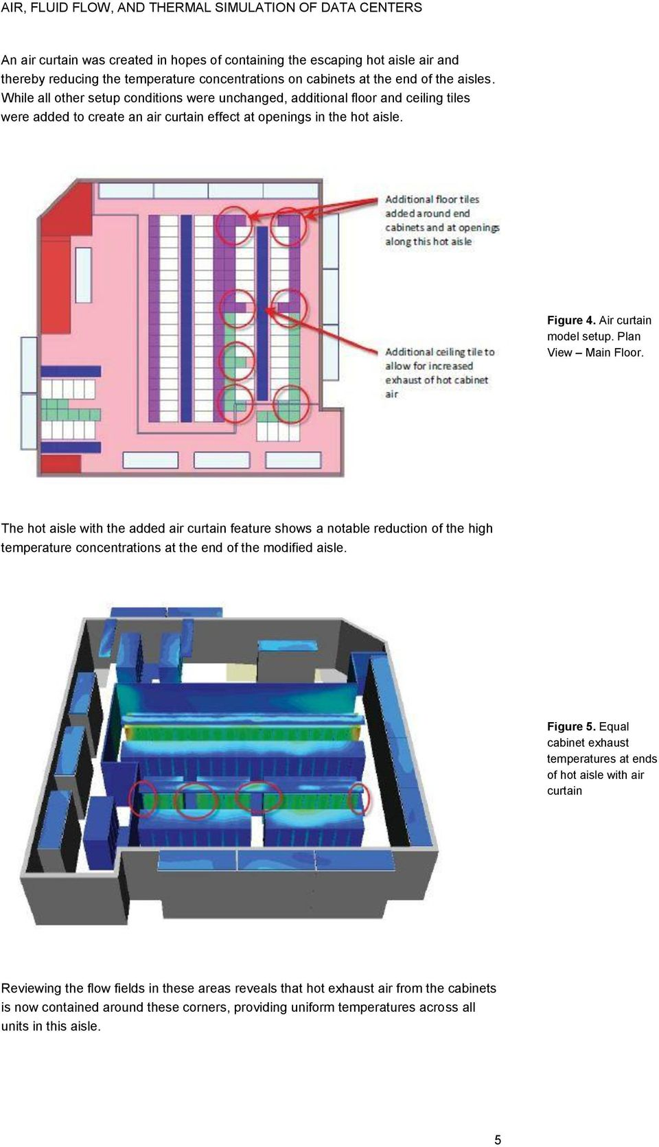 Plan View Main Floor. The hot aisle with the added air curtain feature shows a notable reduction of the high temperature concentrations at the end of the modified aisle. Figure 5.