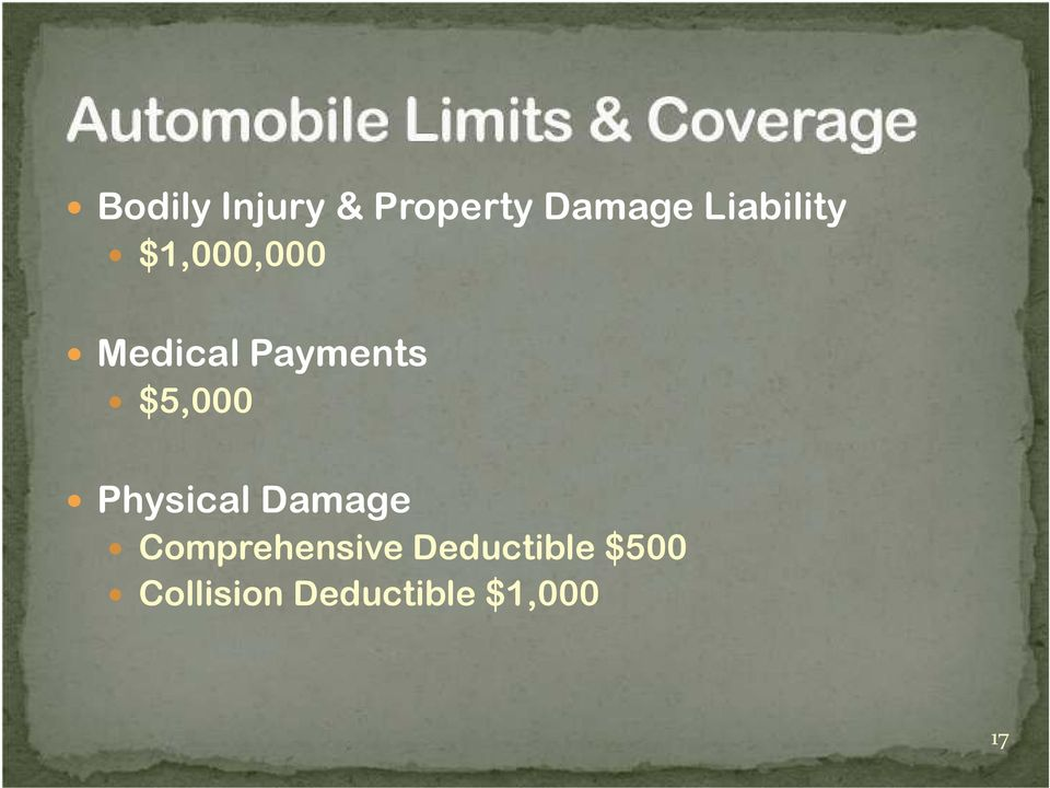 $5,000 Physical Damage Comprehensive