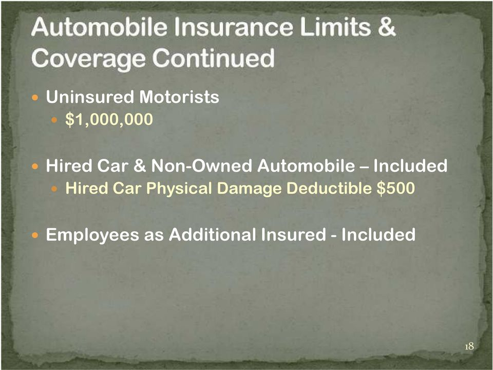 Hired Car Physical Damage Deductible