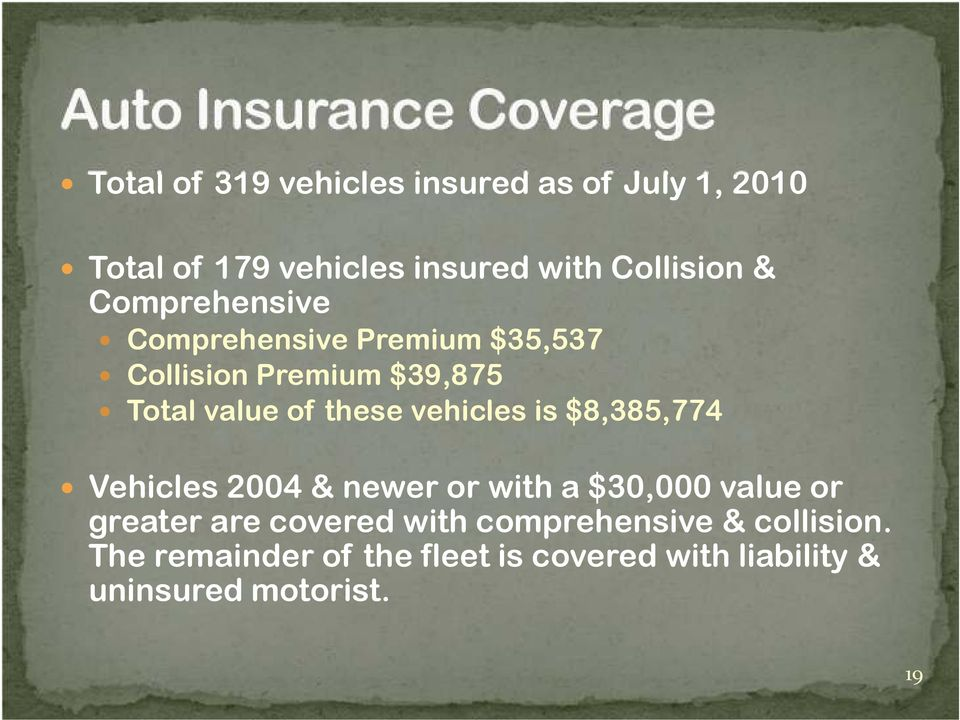vehicles is $8,385,774 Vehicles 2004 & newer or with a $30,000 value or greater are covered with
