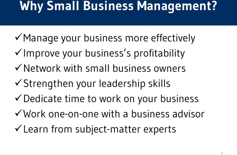 profitability Network with small business owners Strengthen your