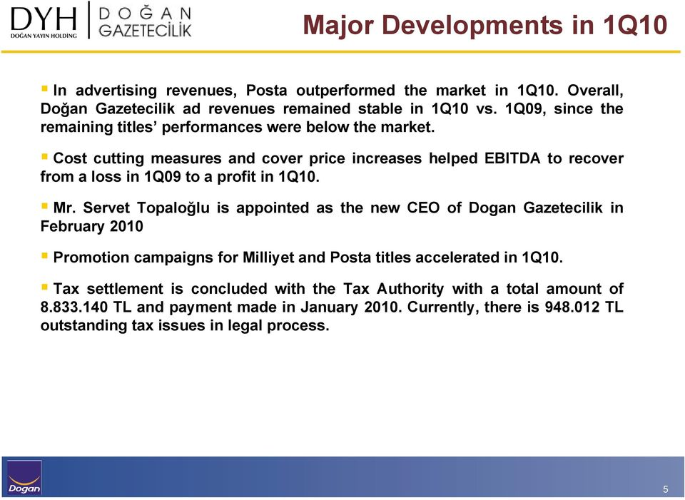 Cost cutting measures and cover price increases helped EBITDA to recover from a loss in 1Q09 to a profit in 1Q10. Mr.