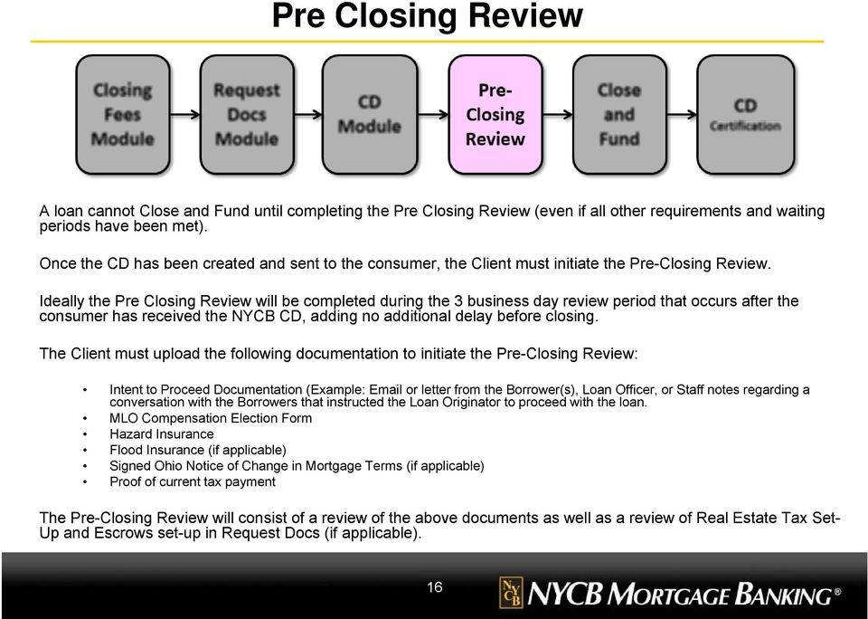 Ideally the Pre Closing Review will be completed during the 3 business day review period that occurs after the consumer has received the NYCB CD, adding no additional delay before closing.