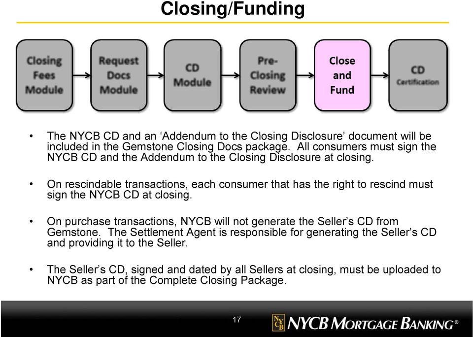 On rescindable transactions, each consumer that has the right to rescind must sign the NYCB CD at closing.