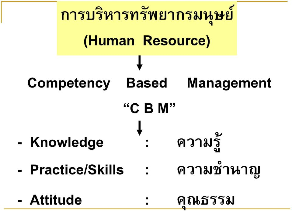 Management C B M - Knowledge : ความร