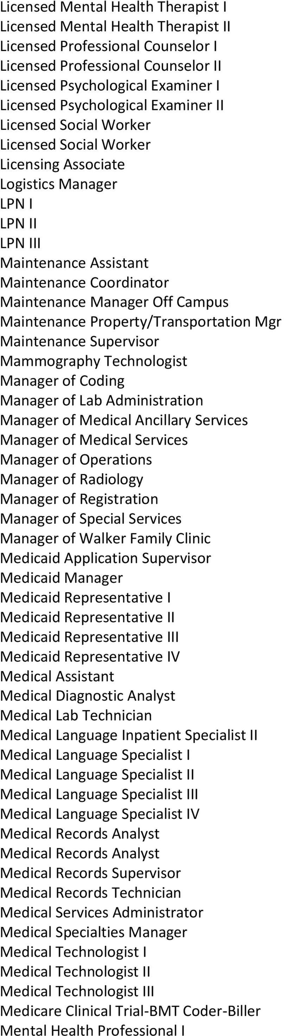 Maintenance Property/Transportation Mgr Maintenance Supervisor Mammography Technologist Manager of Coding Manager of Lab Administration Manager of Medical Ancillary Services Manager of Medical
