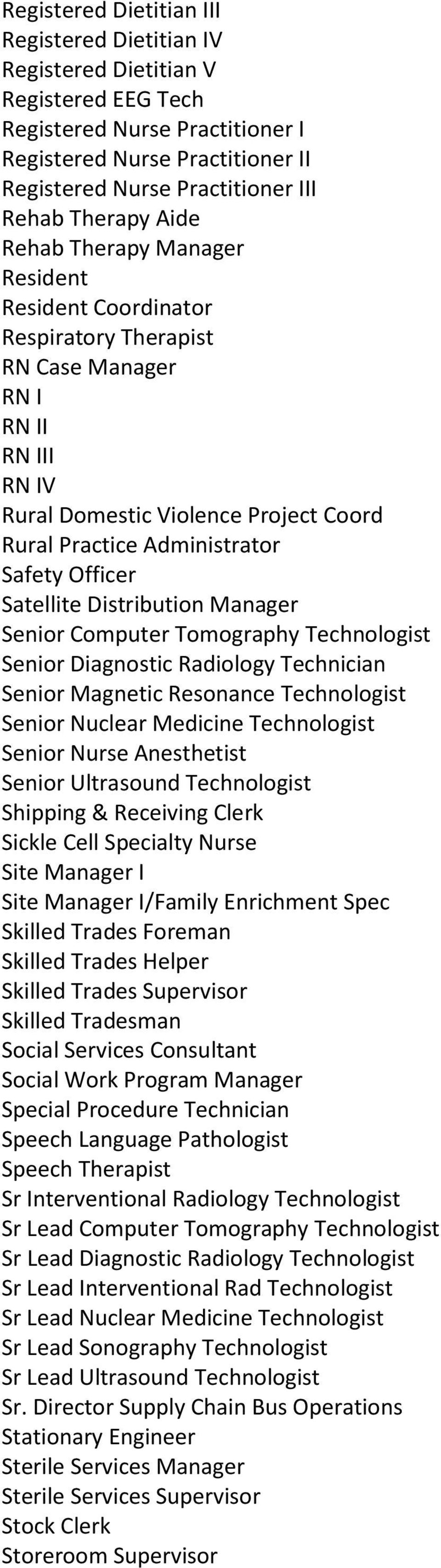 Safety Officer Satellite Distribution Manager Senior Computer Tomography Technologist Senior Diagnostic Radiology Technician Senior Magnetic Resonance Technologist Senior Nuclear Medicine