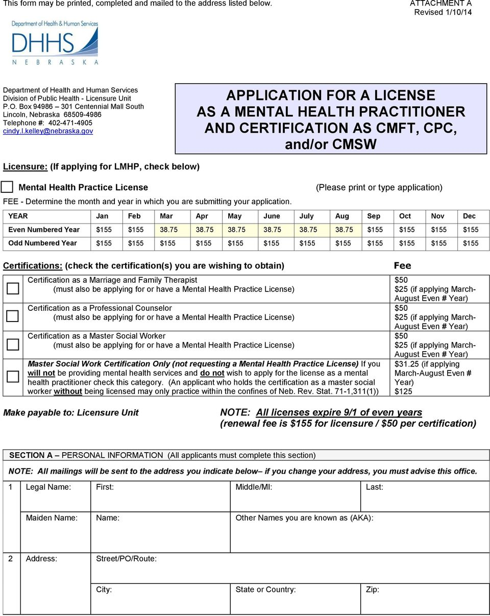 gov APPLICATION FOR A LICENSE AS A MENTAL HEALTH PRACTITIONER AND CERTIFICATION AS CMFT, CPC, and/or CMSW Licensure: (If applying for LMHP, check below) Mental Health Practice License (Please print