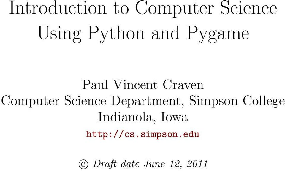 Introduction to Computer Science Using Python and Pygame - PDF