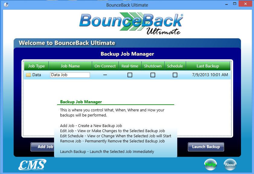 The Backup Job Manager window will open once you have clicked on the View Backup Job Manager menu button in the Backup Monitor.