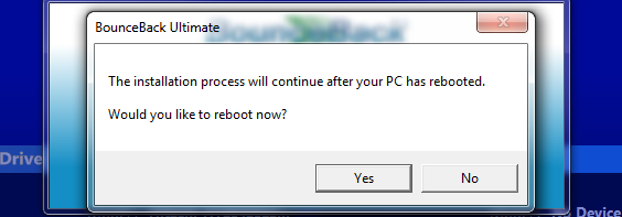 Note: The window that prompts you to click on Continue Anyway might appear behind the BounceBack window.