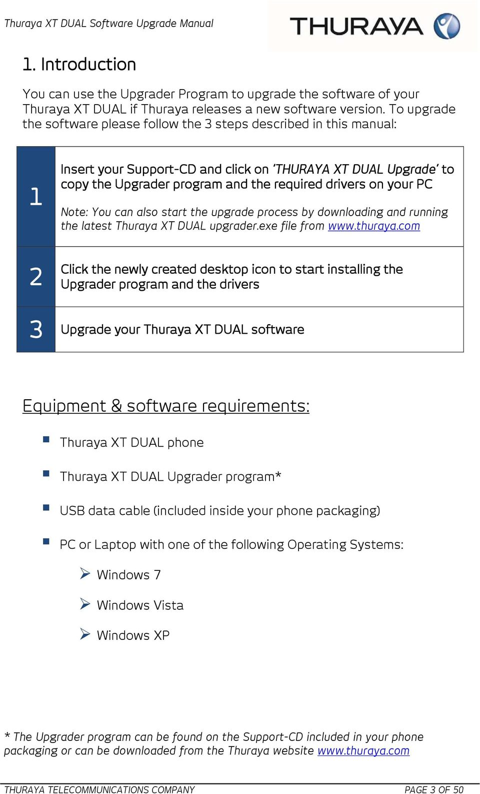 your PC Note: You can also start the upgrade process by downloading and running the latest Thuraya XT DUAL upgrader.exe file from www.thuraya.