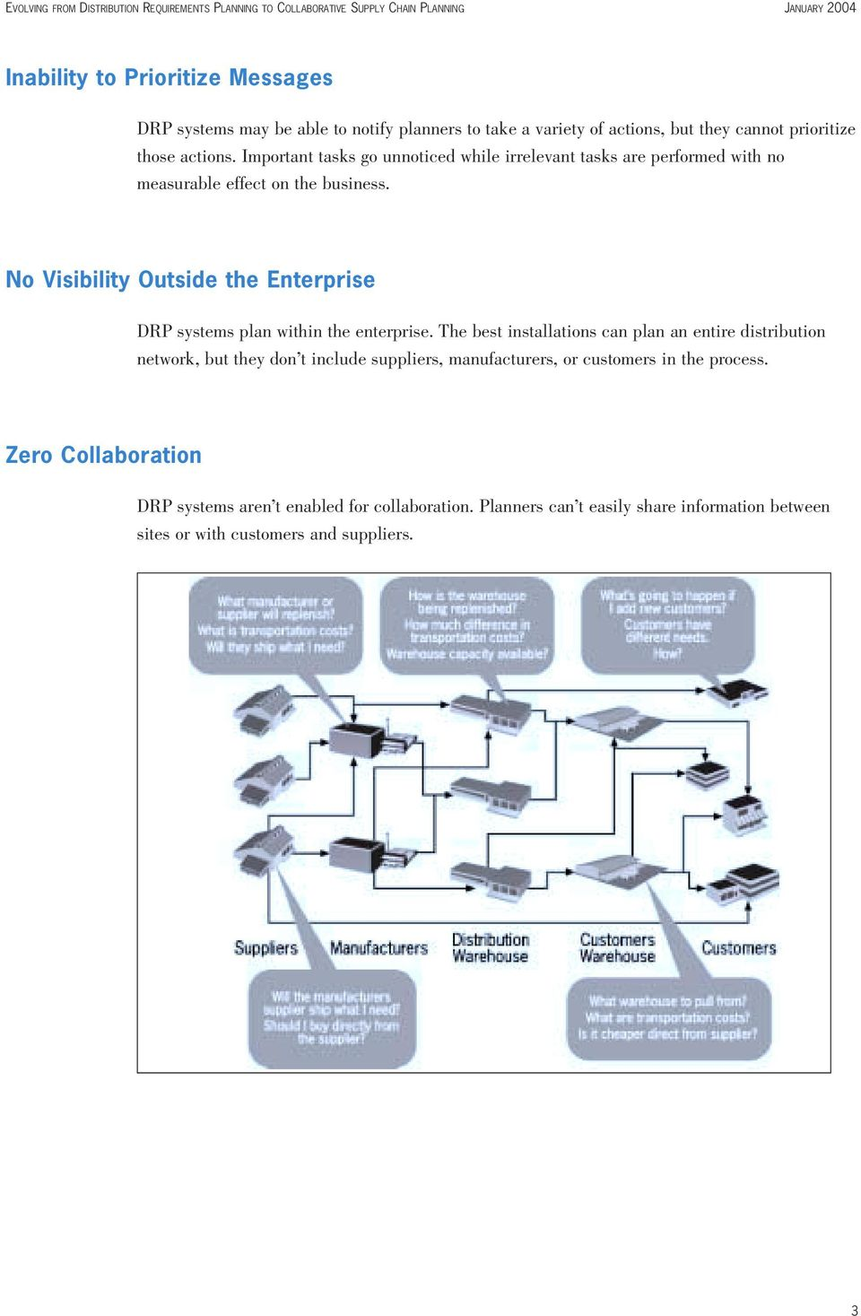 No Visibility Outside the Enterprise DRP systems plan within the enterprise.