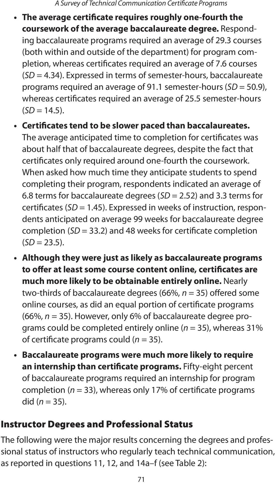 Expressed in terms of semester-hours, baccalaureate programs required an average of 91.1 semester-hours (SD = 50.9), whereas certificates required an average of 25.5 semester-hours (SD = 14.5).