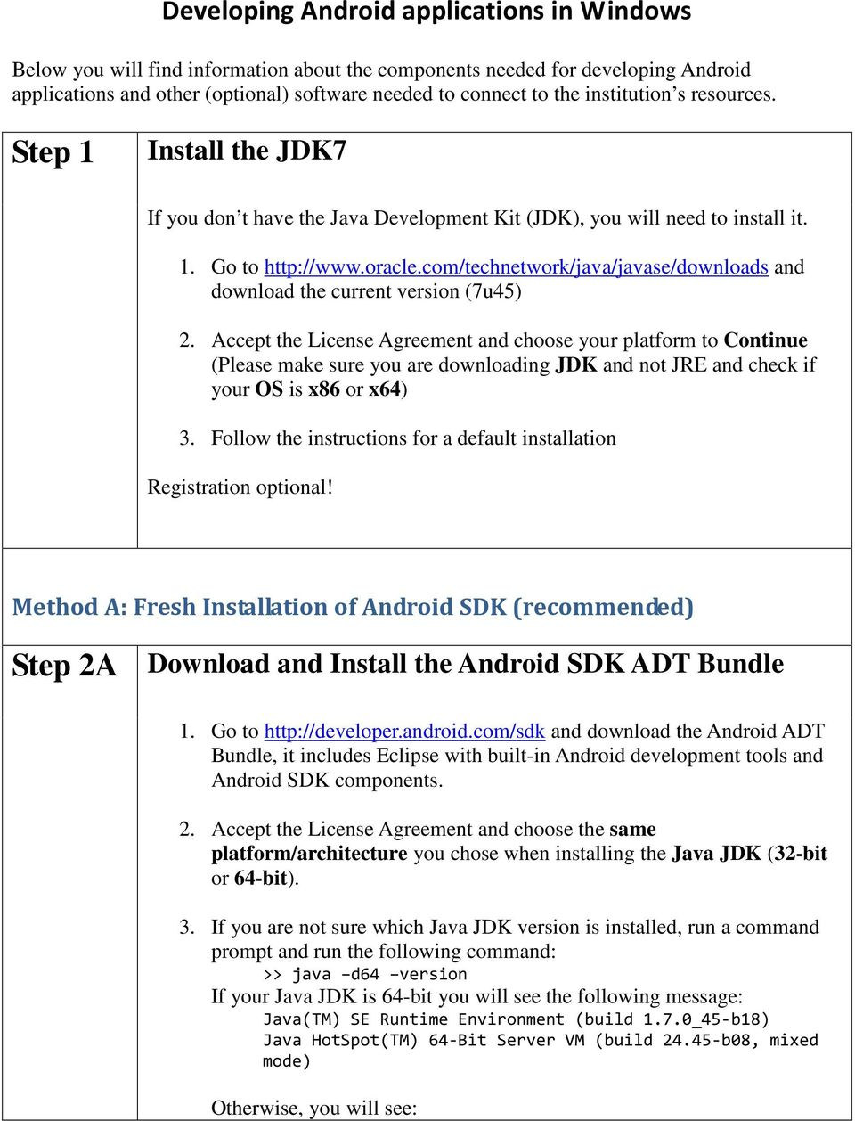 com/technetwork/java/javase/downloads and download the current version (7u45) 2.