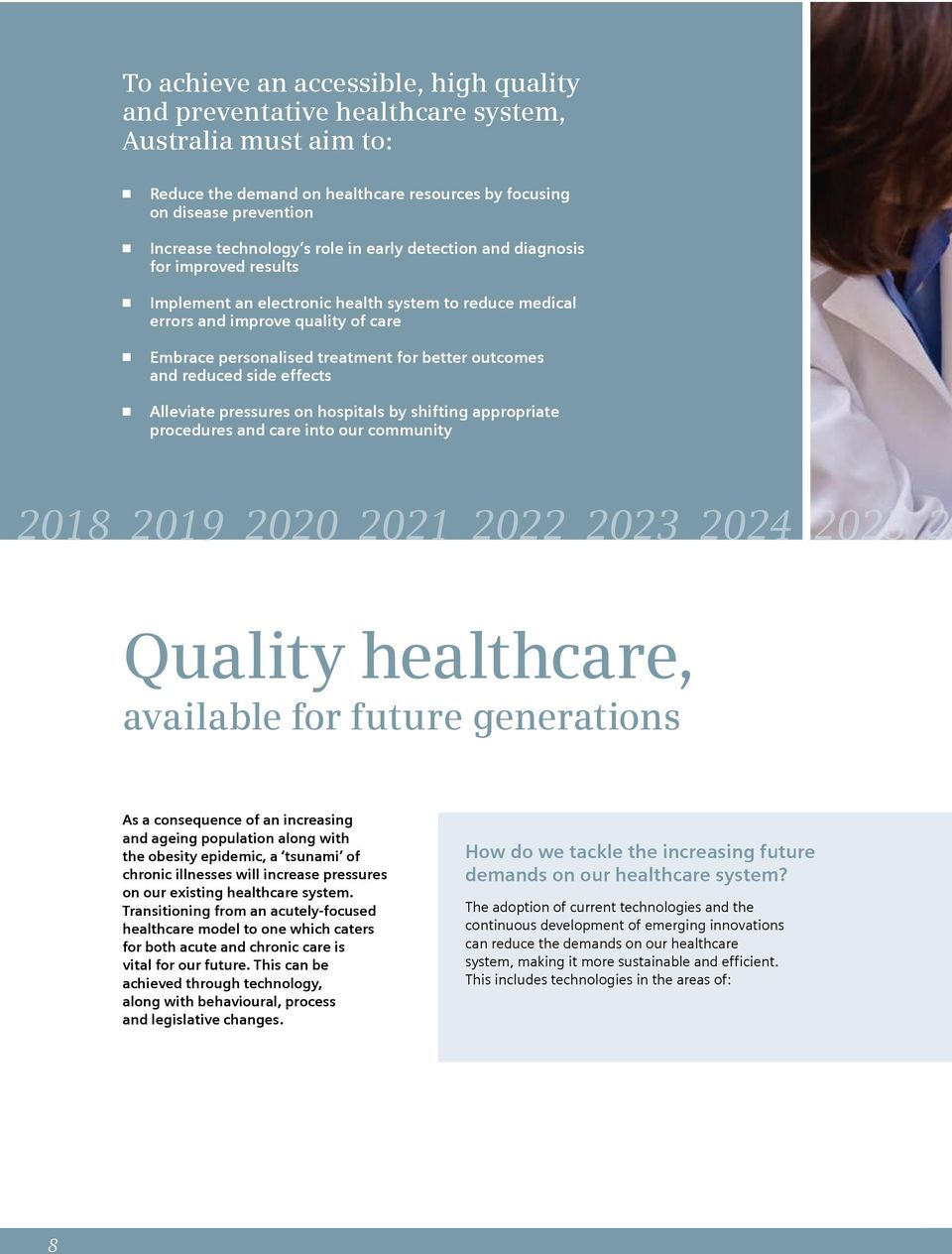 outcomes and reduced side effects Alleviate pressures on hospitals by shifting appropriate procedures and care into our community 2018 2019 2020 2021 2022 2023 2024 2025 20 Quality healthcare,