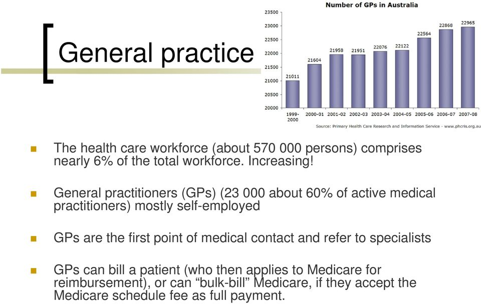 General practitioners (GPs) (23 000 about 60% of active medical practitioners) mostly self-employed l GPs are