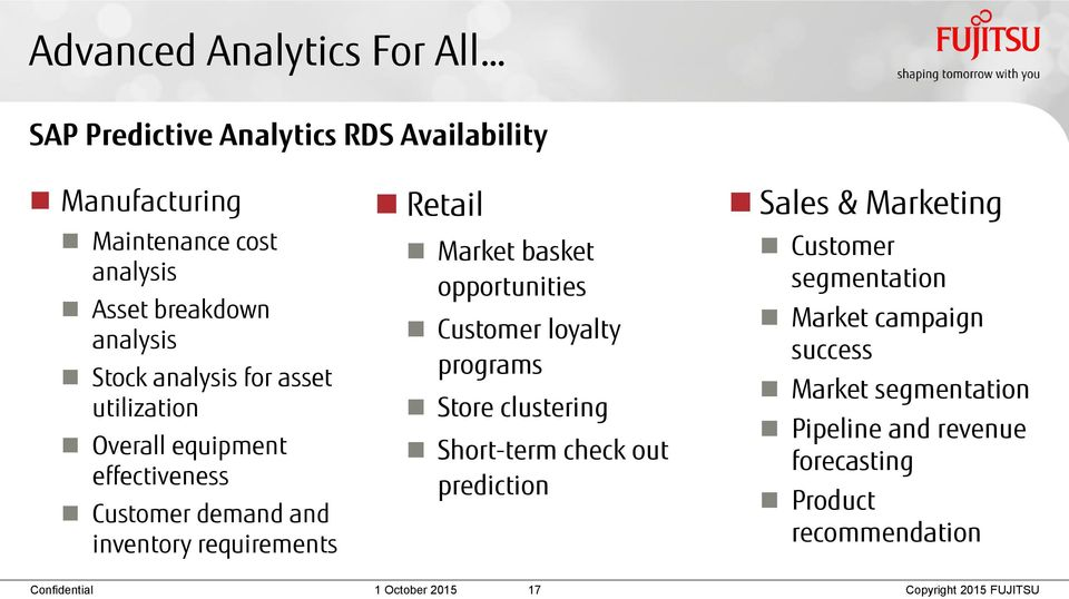 Retail Market basket opportunities Customer loyalty programs Store clustering Short-term check out prediction Sales &