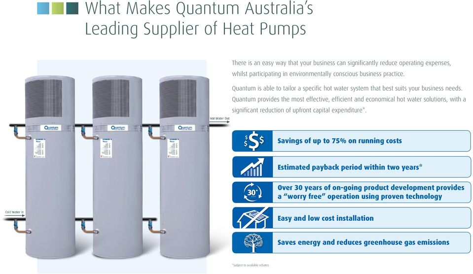 Quantum provides the most effective, efficient and economical hot water solutions, with a significant reduction of upfront capital expenditure*.