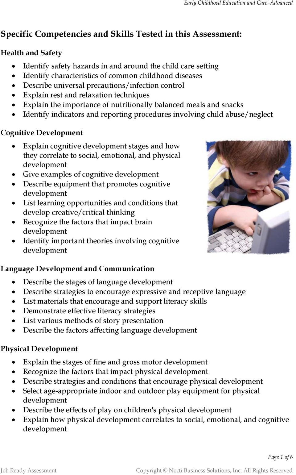 involving child abuse/neglect Cognitive Development Explain cognitive stages and how they correlate to social, emotional, and physical Give examples of cognitive Describe equipment that promotes