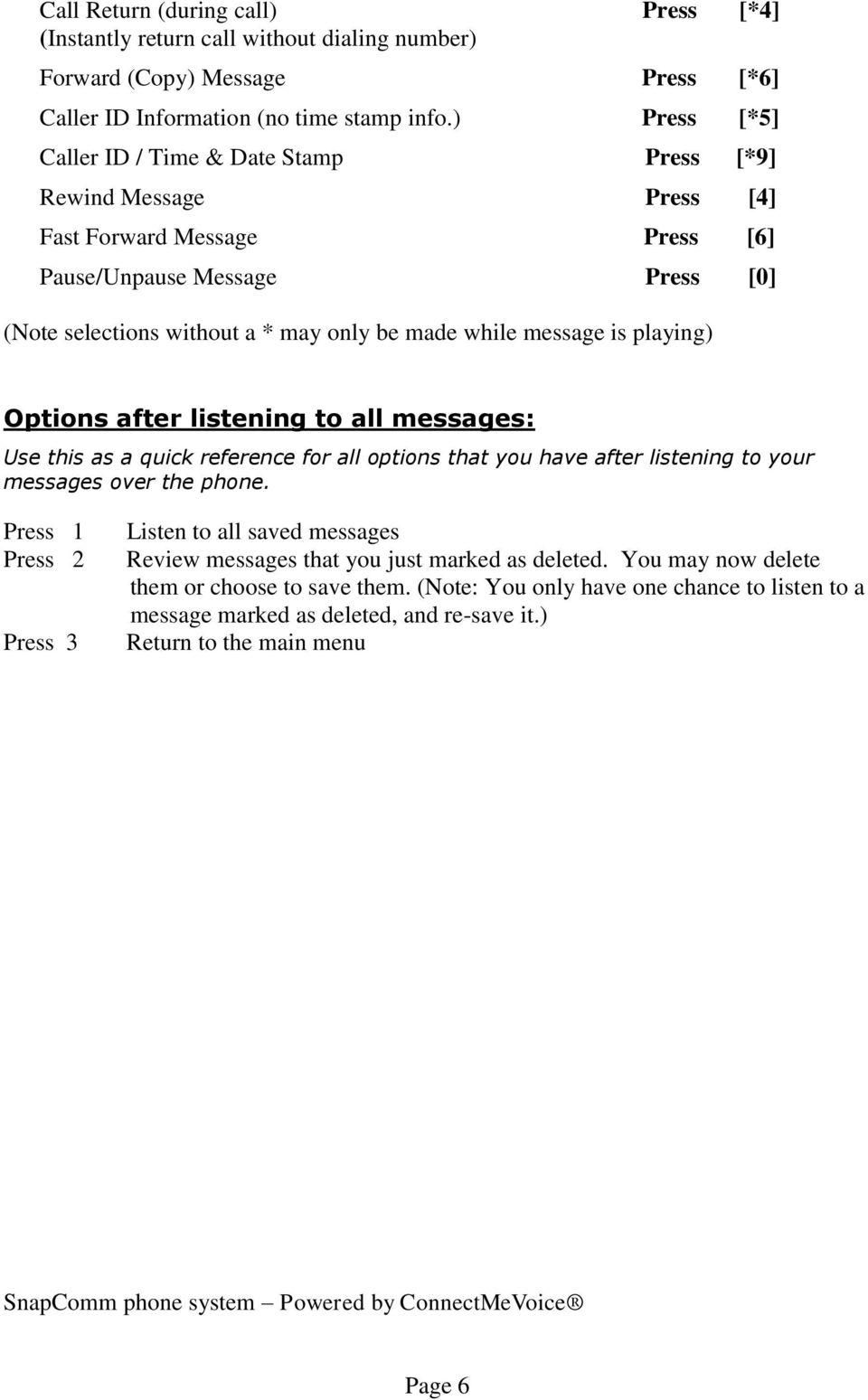 message is playing) Options after listening to all messages: Use this as a quick reference for all options that you have after listening to your messages over the phone.