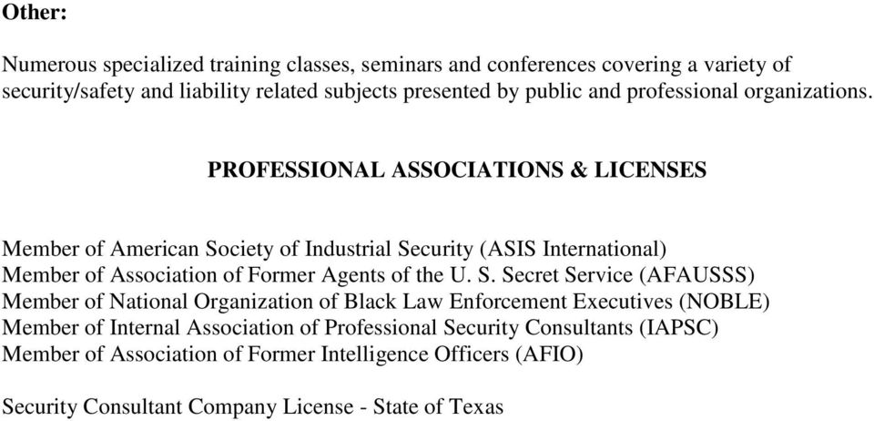 PROFESSIONAL ASSOCIATIONS & LICENSES Member of American So