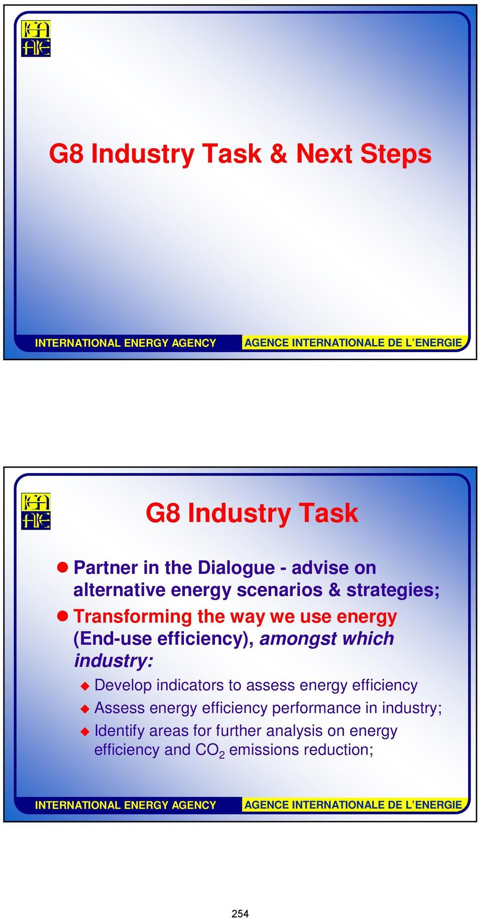 which industry: Develop indicators to assess energy efficiency Assess energy efficiency