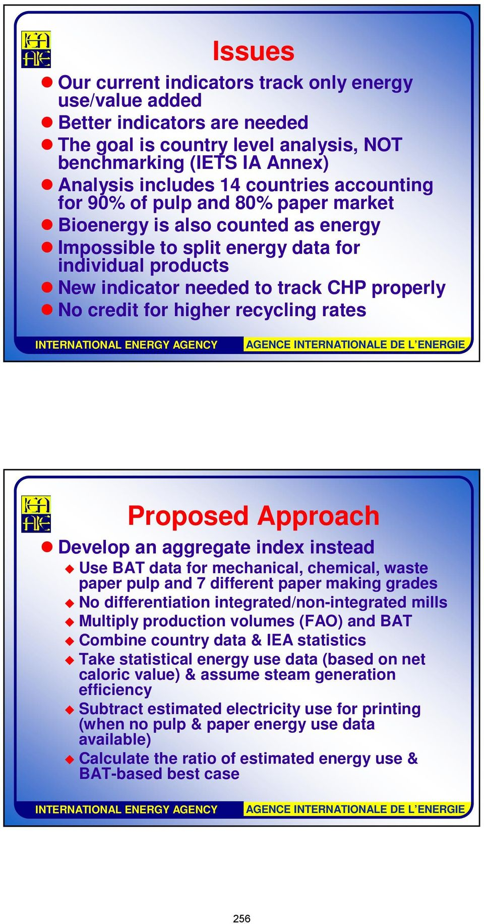 higher recycling rates Proposed Approach Develop an aggregate index instead Use BAT data for mechanical, chemical, waste paper pulp and 7 different paper making grades No differentiation