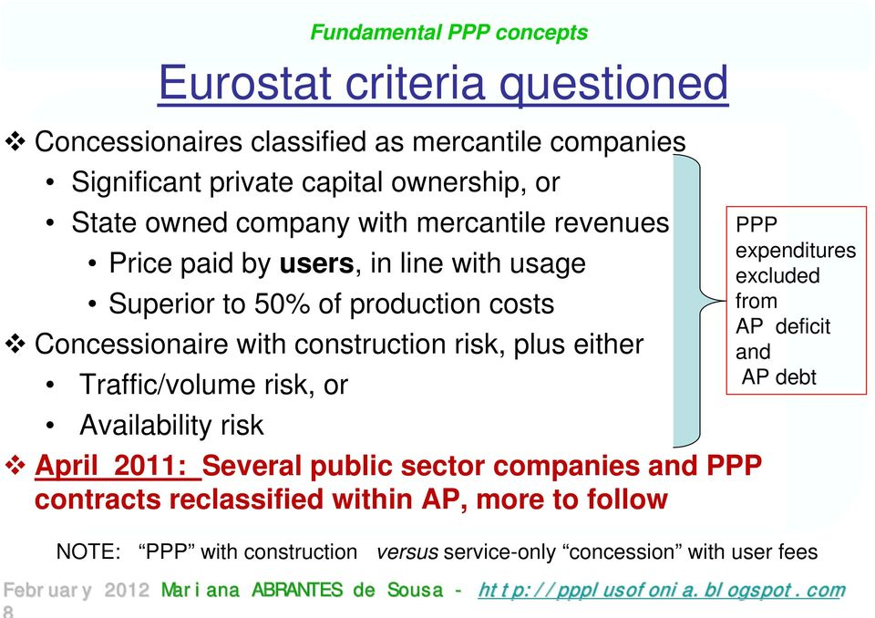 Availability risk Fundamental PPP concepts Eurostat criteria questioned April 2011: Several public sector companies and PPP contracts reclassified
