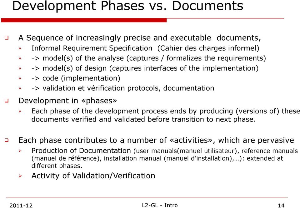 requirements) -> model(s) of design (captures interfaces of the implementation) -> code (implementation) -> validation et vérification protocols, documentation Development in «phases» Each phase of