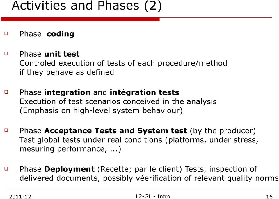 Acceptance Tests and System test (by the producer) Test global tests under real conditions (platforms, under stress, mesuring performance,.
