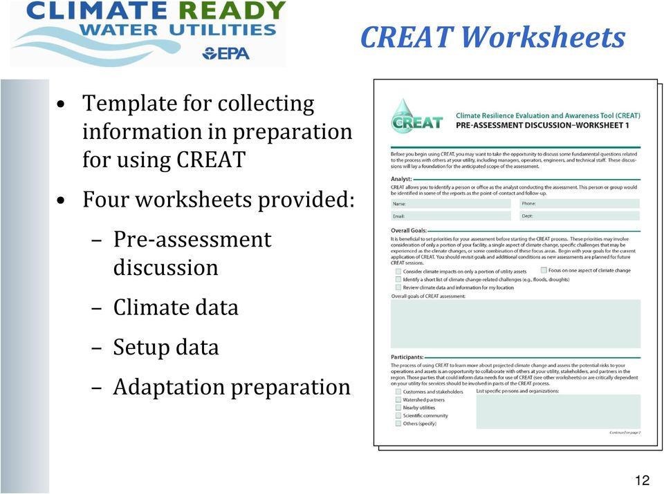 provided: Pre-assessment discussion Climate