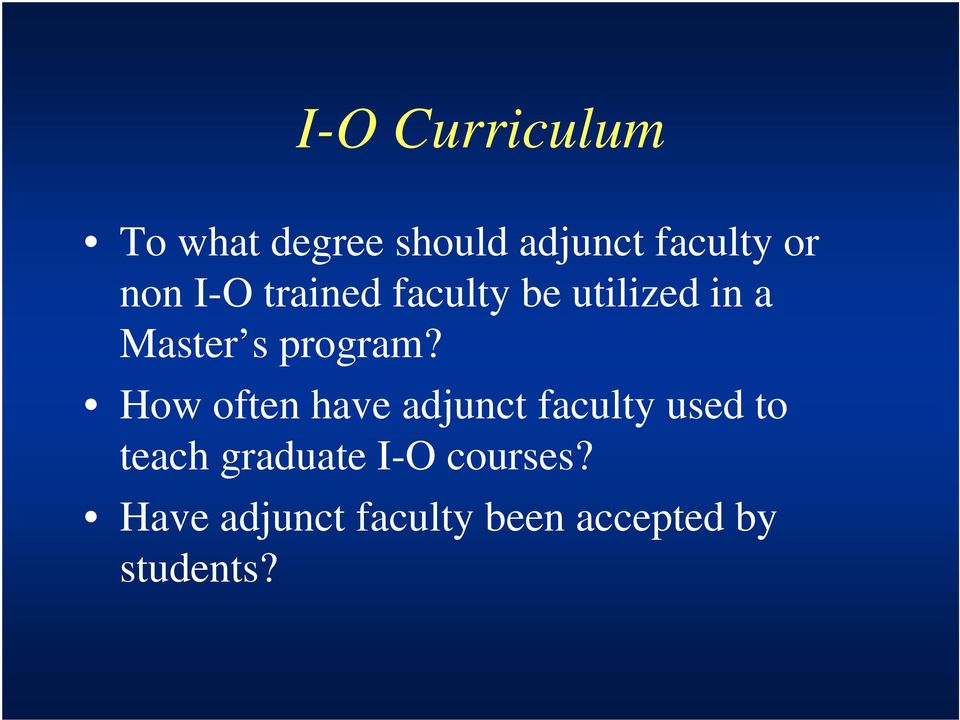 How often have adjunct faculty used to teach graduate I-O