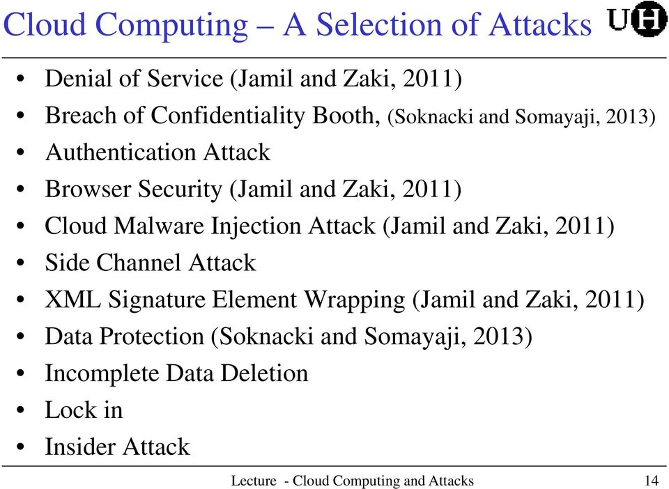 Malware Injection Attack (Jamil and Zaki, 2011) Side Channel Attack XML Signature Element Wrapping (Jamil