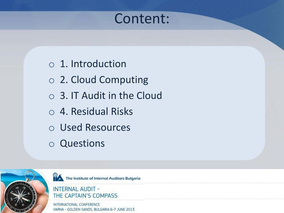 IT Audit in the Cloud o 4.