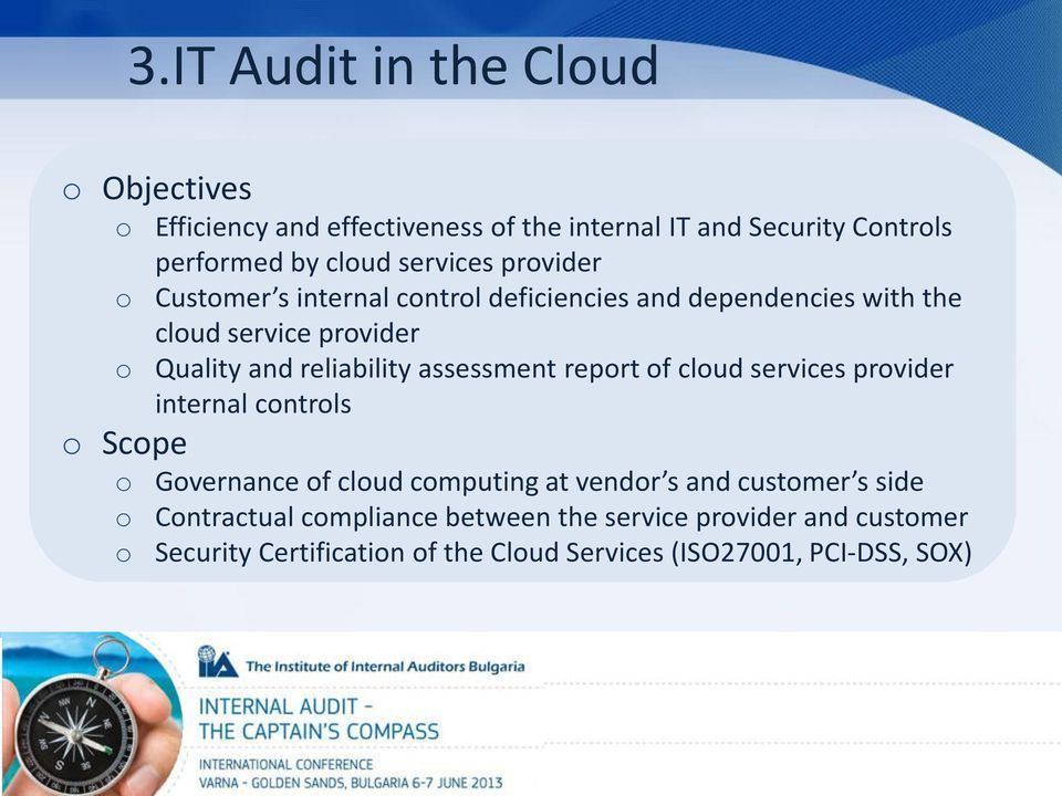 and reliability assessment report of cloud services provider internal controls Governance of cloud computing at vendor s and customer