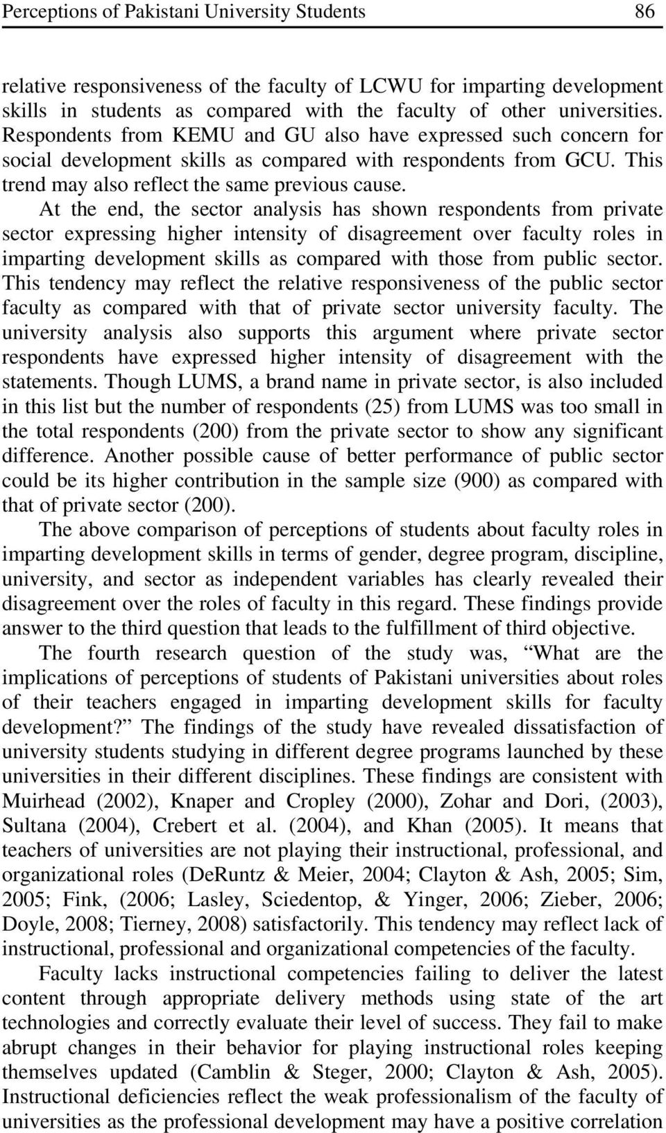 At the end, the sector analysis has shown respondents from private sector expressing higher intensity of disagreement over faculty roles in imparting development skills as compared with those from