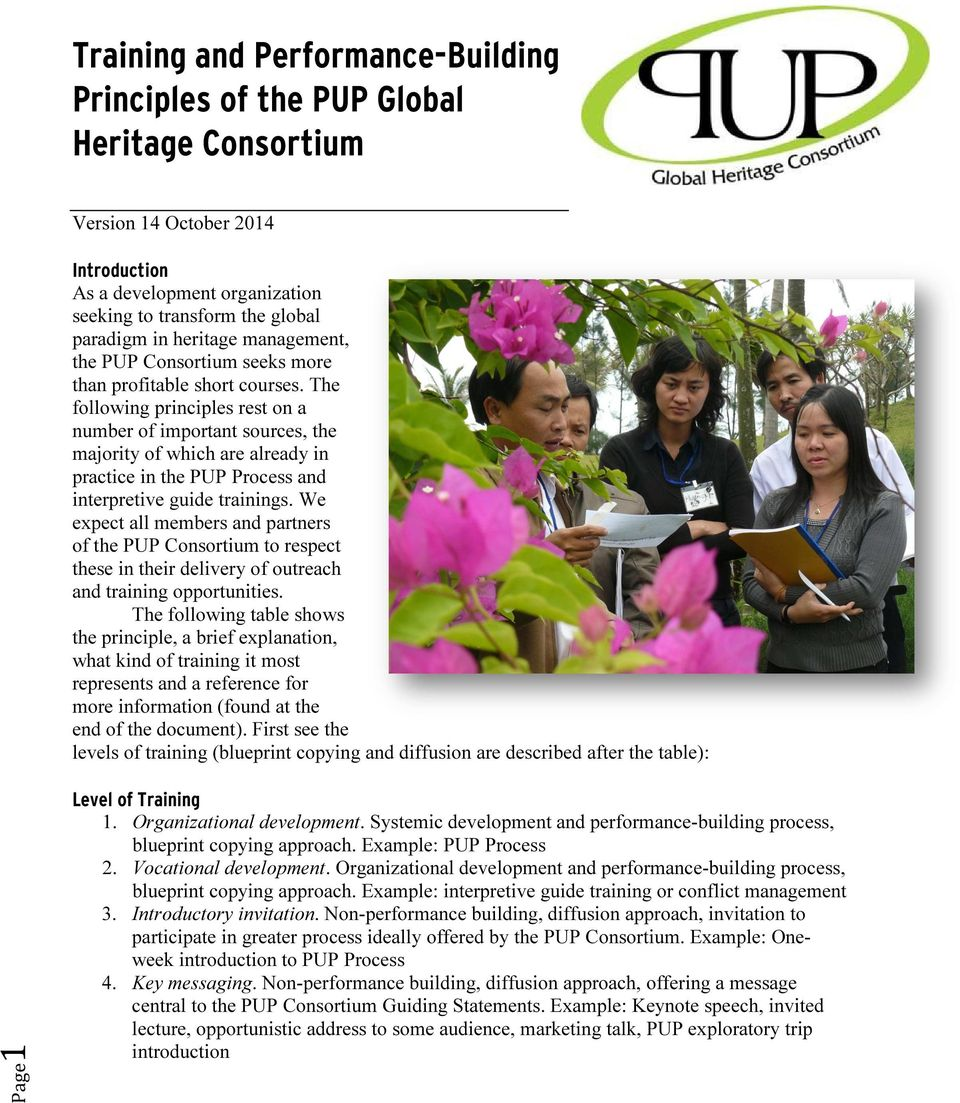 The following principles rest on a number of important sources, the majority of which are already in practice in the PUP Process and interpretive guide trainings.