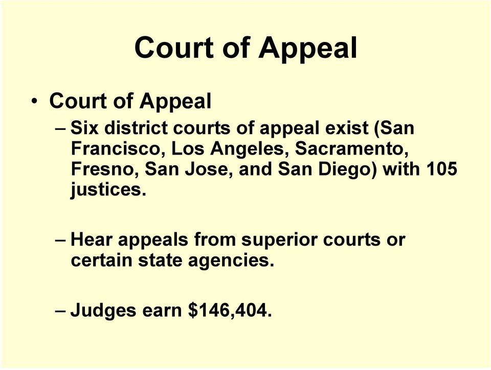 Fresno, San Jose, and San Diego) with 105 justices.