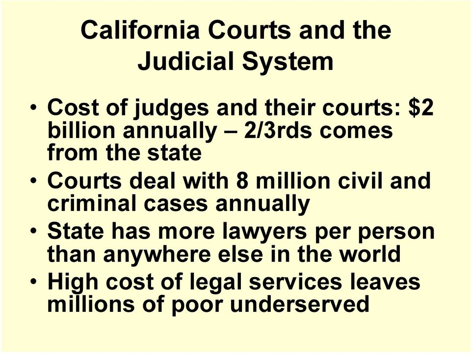 and criminal cases annually State has more lawyers per person than anywhere