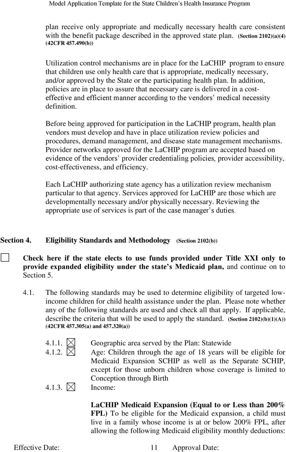 Model Application Template For State Child Health Plan Under Title Xxi Of  The Social Security Act