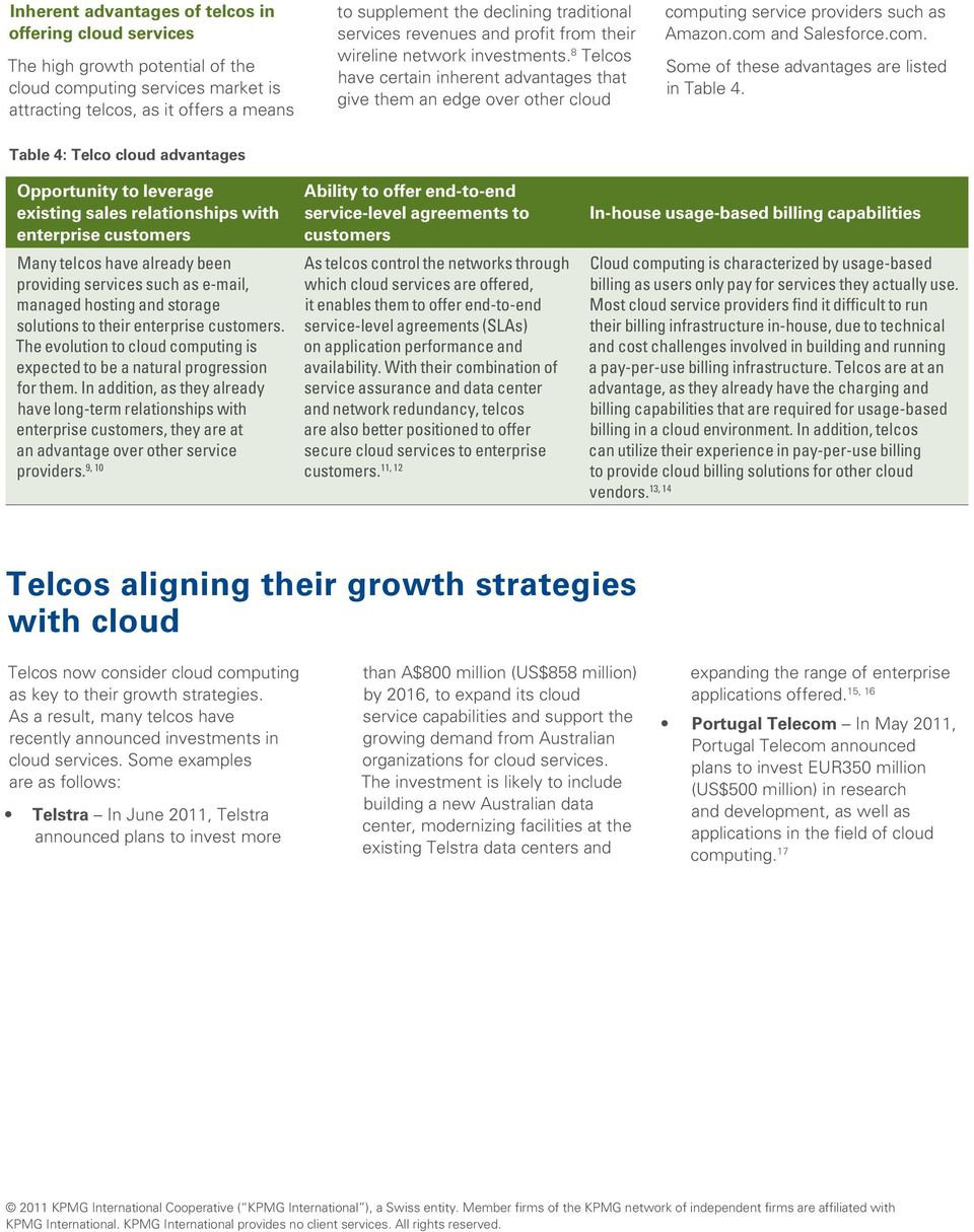 8 Telcos have certain inherent advantages that give them an edge over other cloud computing service providers such as Amazon.com and Salesforce.com. Some of these advantages are listed in Table 4.
