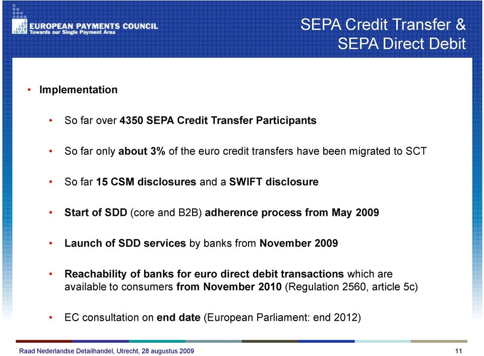 process from May 2009 Launch of SDD services by banks from November 2009 Reachability of banks for euro direct debit transactions which