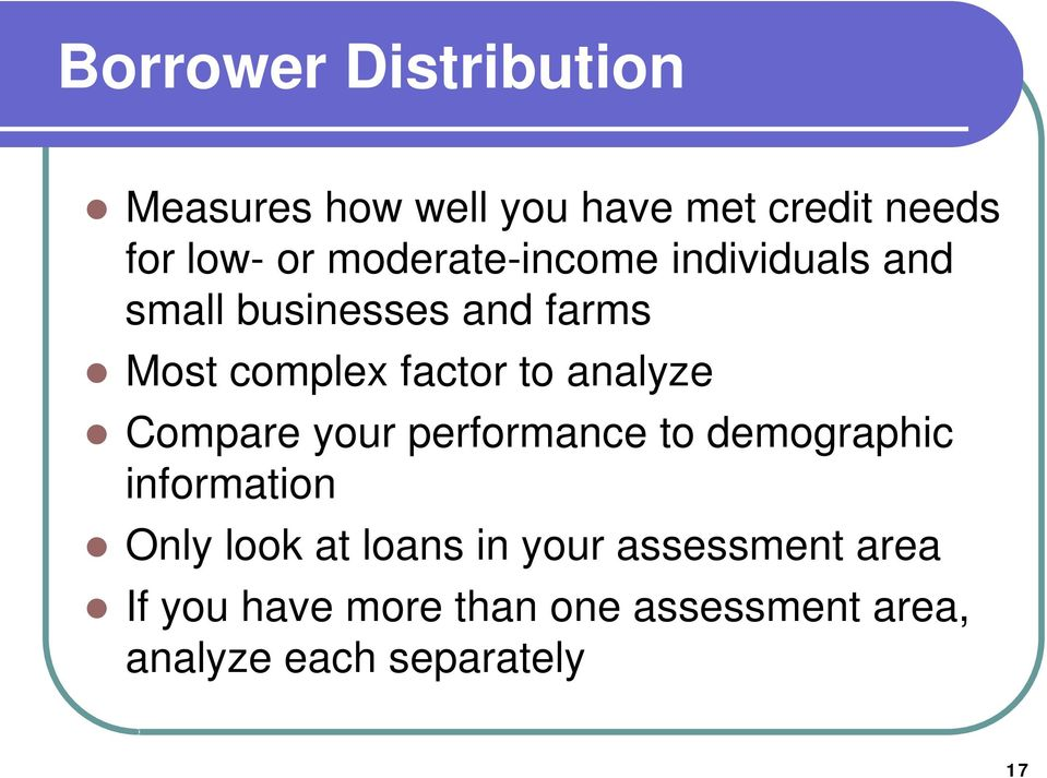analyze Compare your performance to demographic information Only look at loans in