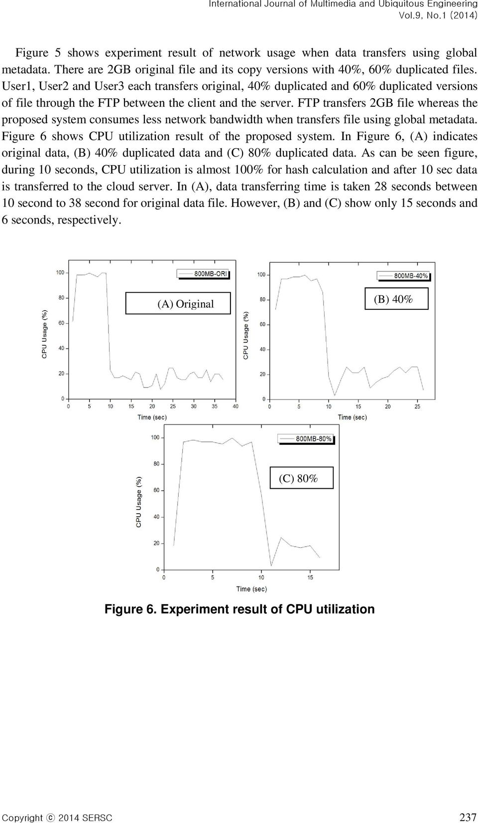 FTP transfers 2GB file whereas the proposed system consumes less network bandwidth when transfers file using global metadata. Figure 6 shows CPU utilization result of the proposed system.