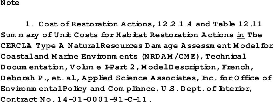 Model for Coastal and Marine Environments (NRDAM/CME), Technical Documentation, Volume I-Part 2, Model