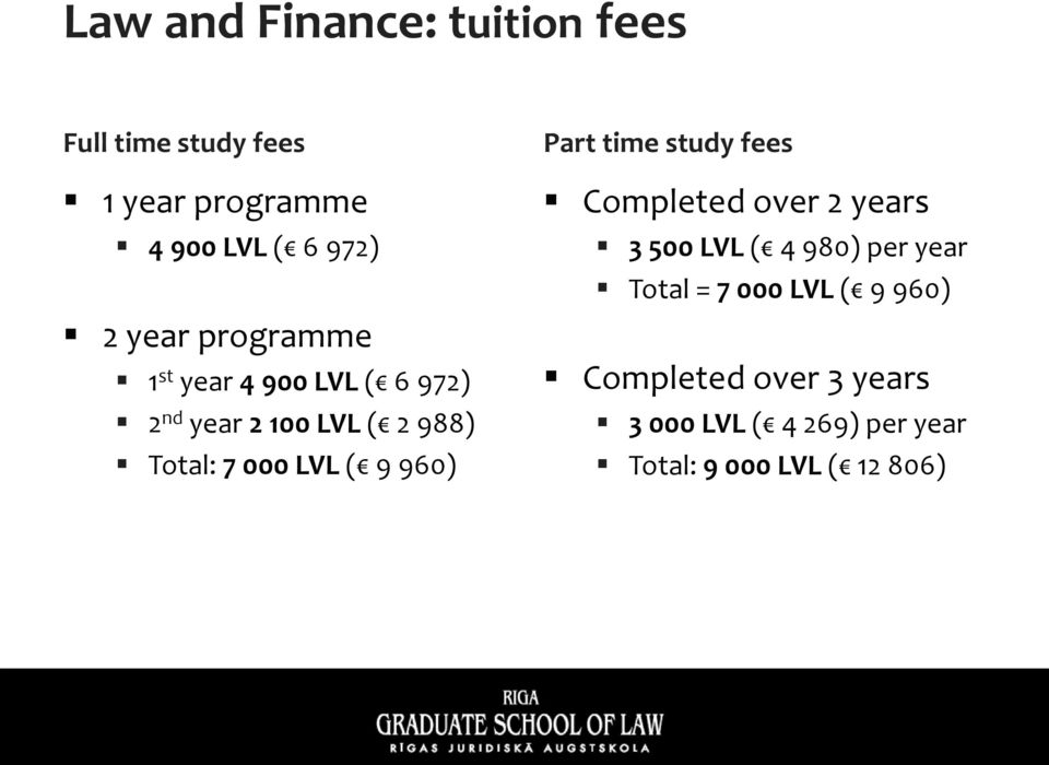 ( 9 960) Part time study fees Completed over 2 years 3 500 LVL ( 4 980) per year Total = 7