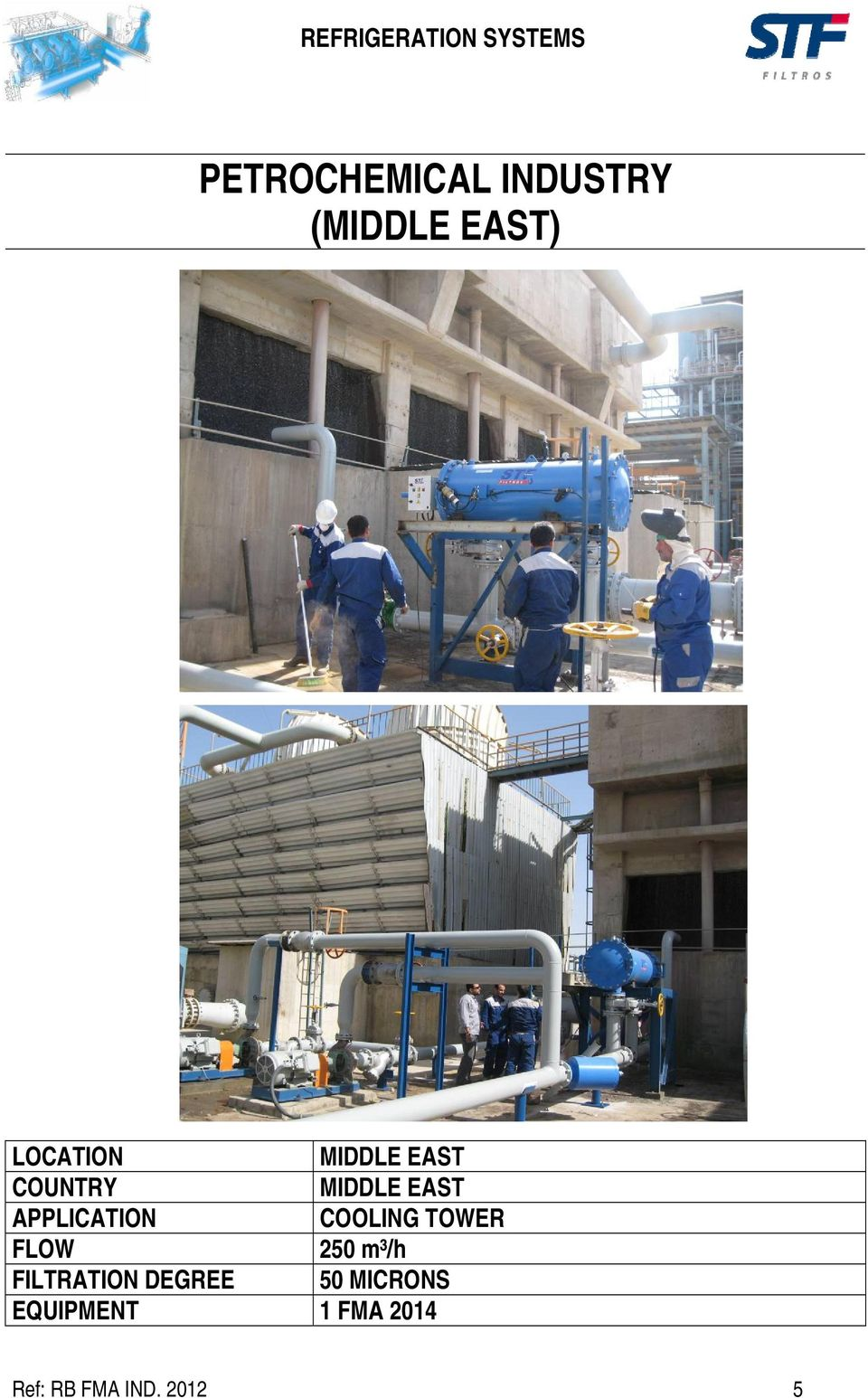 COOLING TOWER 250 m³/h FILTRATION DEGREE 50