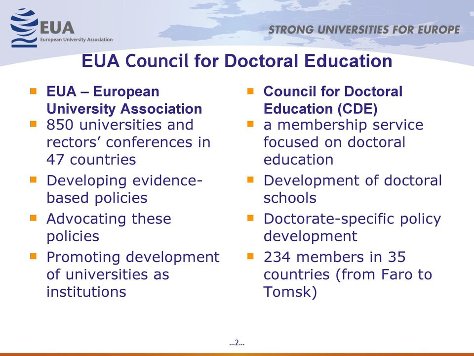 universities as institutions Council for Doctoral Education (CDE) a membership service focused on doctoral